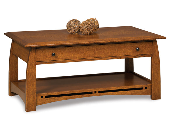 Boulder Creek open coffee table shown in 1/4 Sawn White Oak/Michaels