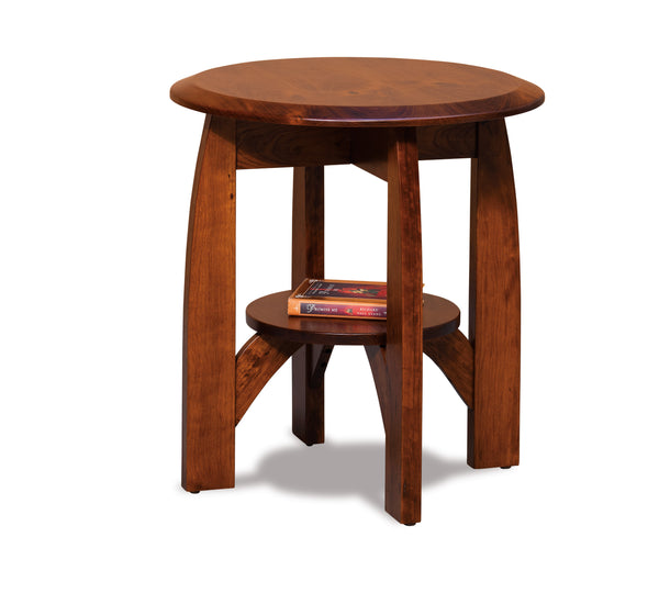Boulder Creek round end table shown in Rustic Cherry/New Carrington