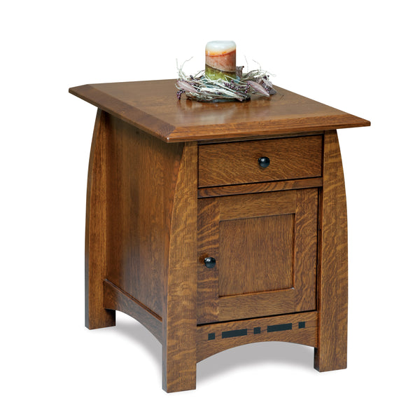 Boulder Creek enclosed end table shown in 1/4 Sawn White Oak/Tavern
