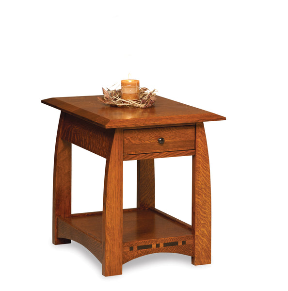 Boulder Creek end table shown in 1/4 Sawn White Oak/Michaels