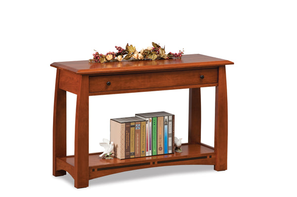Boulder Creek open sofa table shown in Rustic Cherry/New Carrington