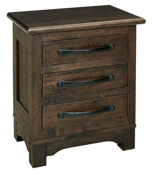 Farmhouse nightstand with barn wood texture shown in Rustic Hickory and a Briar finish