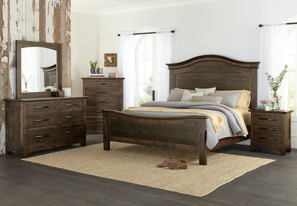This Farmhouse Signature collection is shown in Rustic Hickory with a Vintage Barn Wood texture and a Briar finish.