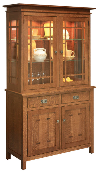 Gettysburg Hutch 2 door shown in 1/4 sawn white oak in Michaels Cherry finish