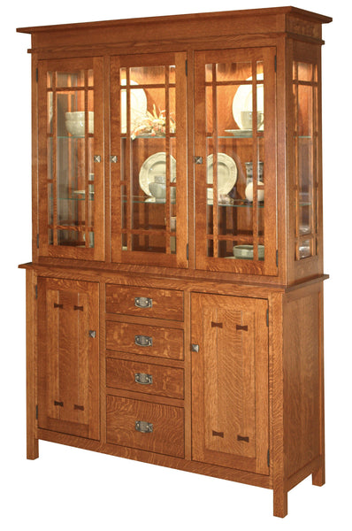 Gettysburg Hutch 3 door shown in 1/4 sawn white oak with Michaels Cherry finish
