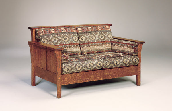 Highback Panel Loveseat shown in 1/4 Sawn White Oak with Michaels Cherry finish