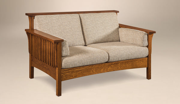 Highback Slat Loveseat shown in 1/4 Sawn White Oak with a Michaels Cherry finish