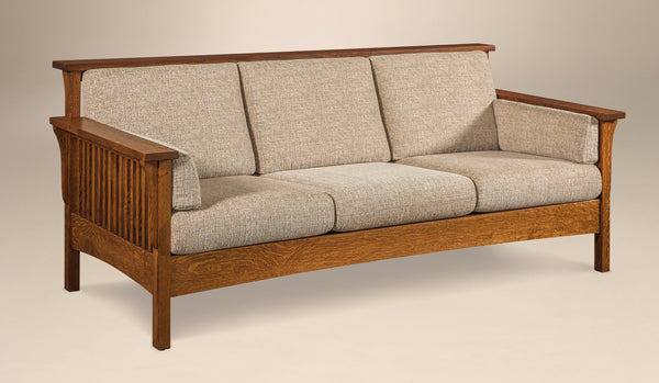 Highback Slat Sofa shown in 1/4 Sawn White Oak with a Michaels Cherry finish