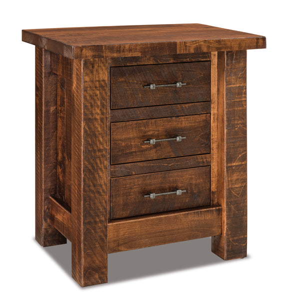 Houston 3 dwr Nightstand shown in Rough Sawn Maple/Vintage Antique