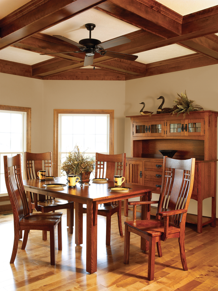 Liberty Mission dining room collection shown in 1/4 Sawn White Oak/Michaels