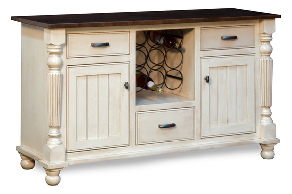 The Lincoln buffet and wine cabinet is shown in Brown Maple with a base finished in Pearl and a Warm Brown Glaze. The top is finished in Kona stain.