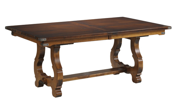 Luxembourg Trestle table shown in Brown Maple/Sealy with Brown Glaze
