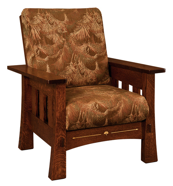 Mesa chair is shown in 1/4 Sawn White Oak with an Asbury finish.  The fabric shown is discontinued.
