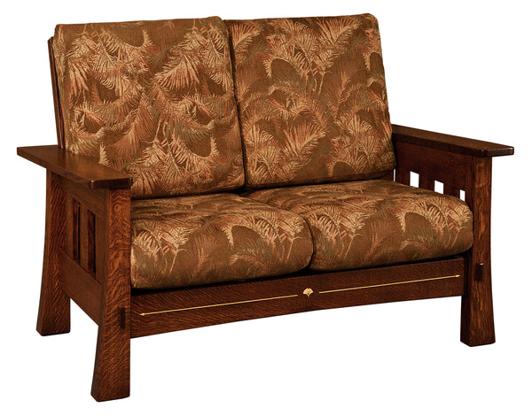 Mesa love seat is shown in 1/4 Sawn White Oak and an Asbury finish.  Fabric shown is discontinued