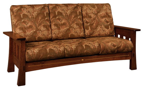 Mesa sofa is shown in 1/4 Sawn White Oak and an Asbury finish.  Fabric is discontinued.