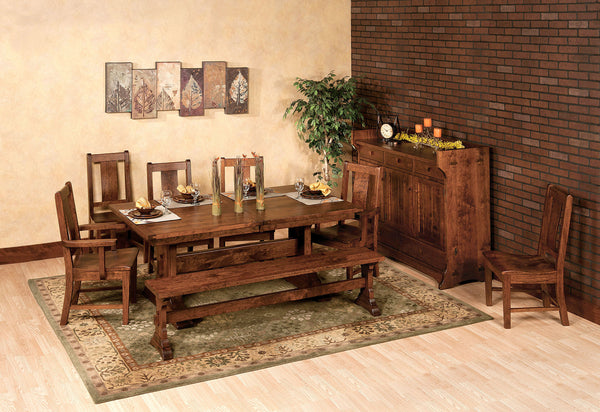 Manchester dining room collection shown in Rustic Cherry/Asbury