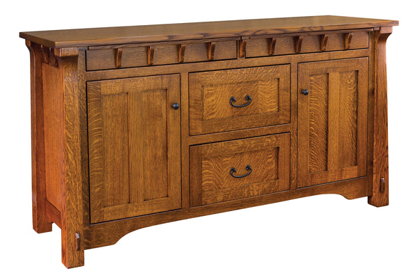 manitoba sideboard shown in 1/4 sawn white oak with a Michaels Cherry finish