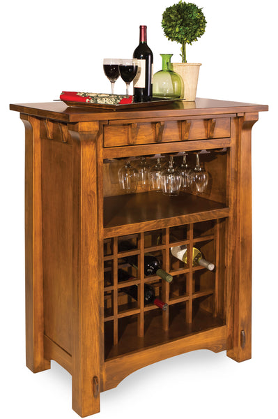 Manitoba Wine Cabinet shown in Brown Maple with a Sealy finish.