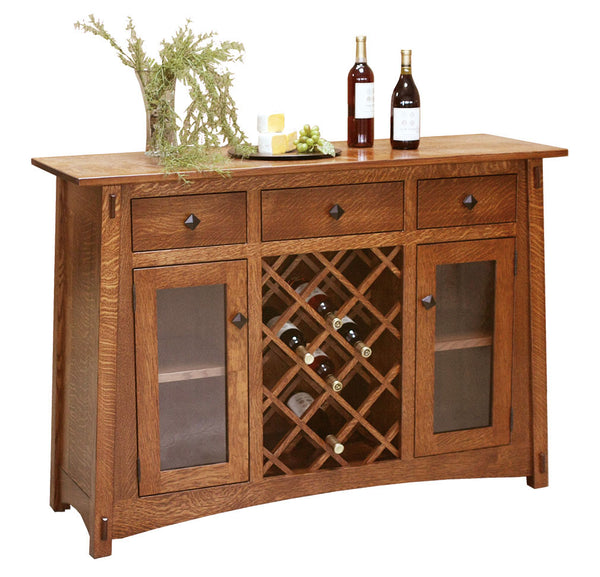 McCoy Wine Buffet shown in 1/4 Sawn White Oak with Michaels stain.