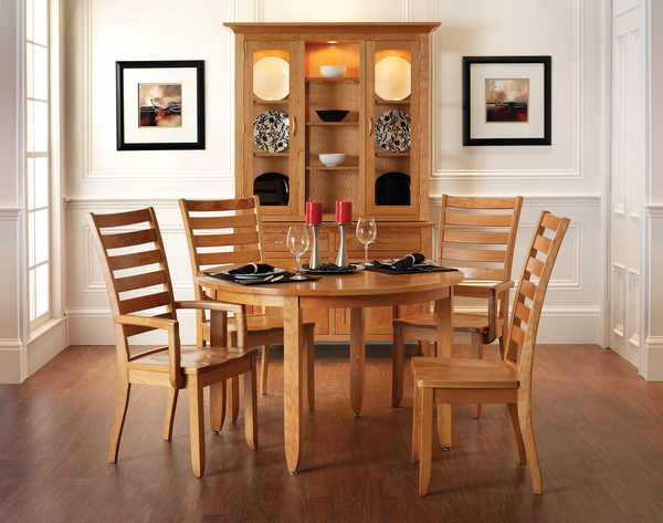 Modern Shaker dining room collection shown in Cherry/Baywood