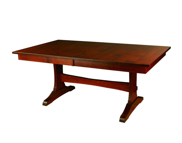 Wasilla Trestle table shown in 1/4 Sawn White Oak/Golden Brown