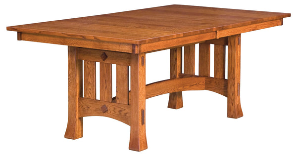 Olde Century Mission Trestle table shown in Oak/Copper