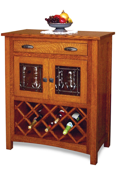 The Regal Wine Cabinet is shown in 1/4 Sawn White Oak with a Michaels finish.
