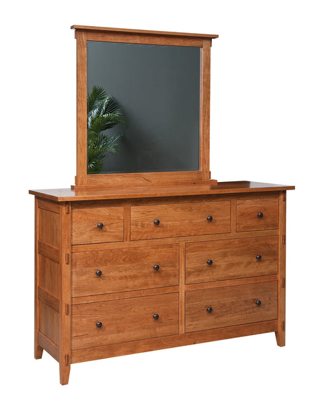 Bungalow 7 drawer dresser shown in Cherry/Fruitwood