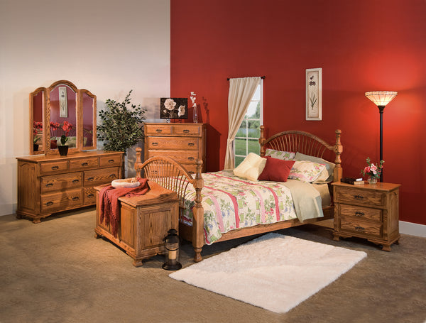 Classic Heritage bedroom collection shown in Oak/Sealy