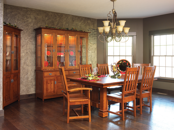Santa Fe dining collection shown in 1/4 Sawn White Oak/Michaels