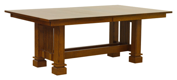 Santa Fe Trestle table shown in 1/4 Sawn White Oak/Michaels
