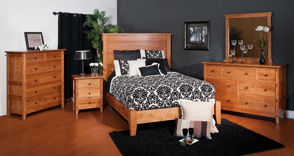 Bungalow bedroom collection shown in Cherry/Fruitwood