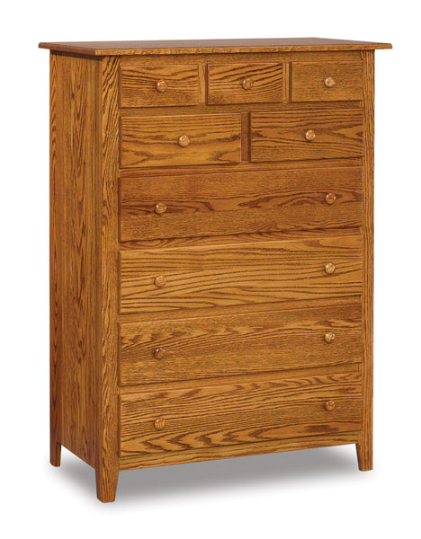 Shaker 9 drawer chest shown in Oak/Golden Honey