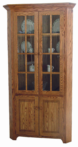 Shaker Corner Cabinet (Hutch) is shown in Oak with a Medium Walnut finish
