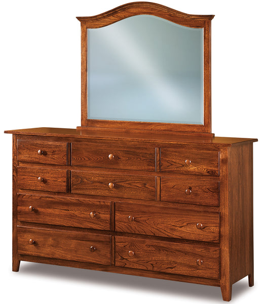 Shaker 10 drawer dresser shown in Elm/Michaels