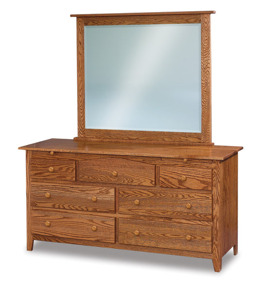 Shaker 7 drawer dresser shown in Oak/Golden Honey