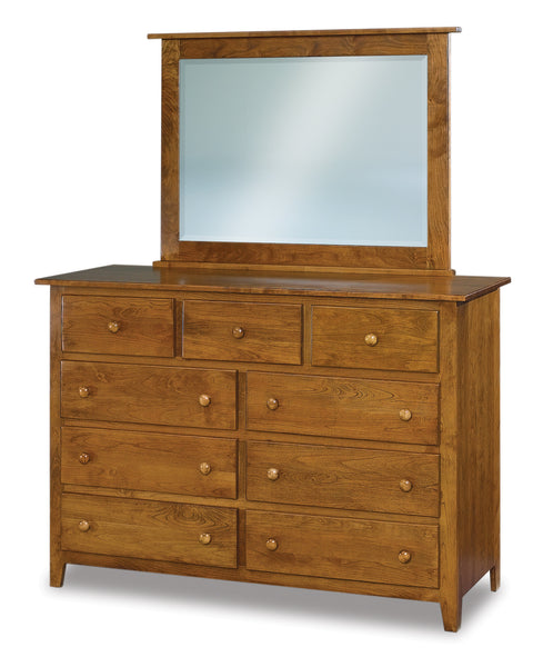 Shaker 9 drawer dresser shown in Brown Maple/Chocolate Spice