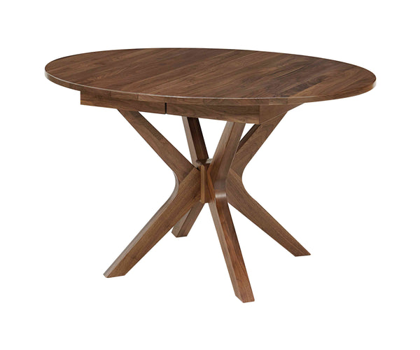 The Vadsco table has a unique egg shape table top.  Shown in Walnut with a natural finish.