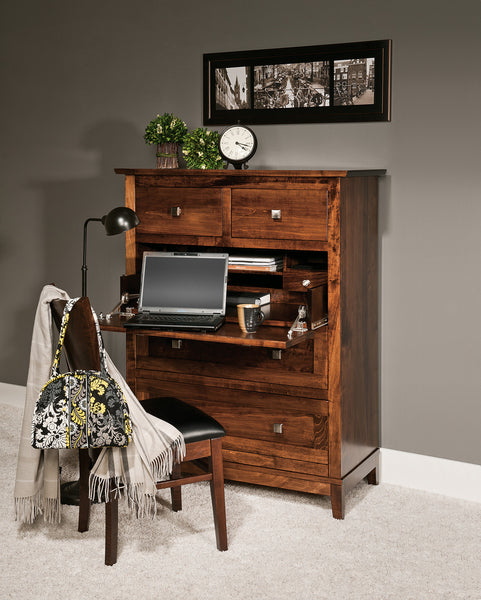 Bungalow desk chest shown in Brown Maple/Asbury