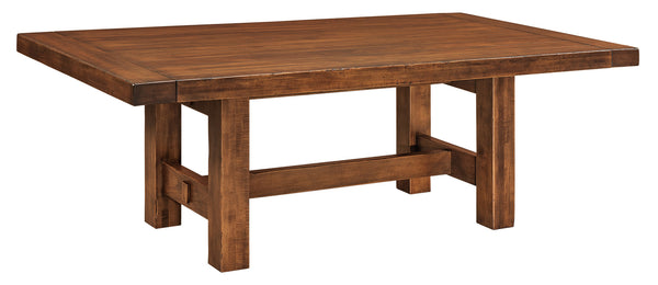 Wellington Trestle table shown in Brown Maple/Nutmeg distressed