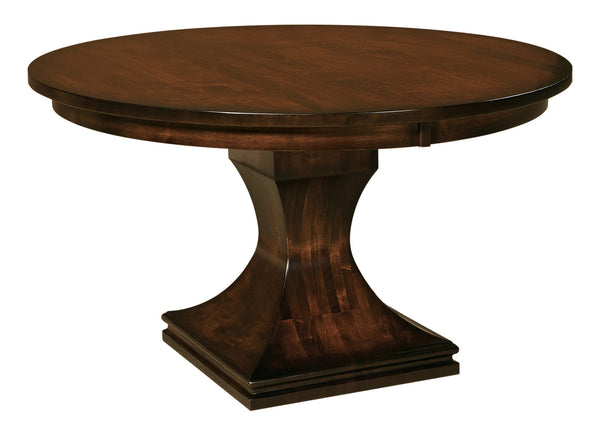 Westin Pedestal table shown in Brown Maple/Golden Brown