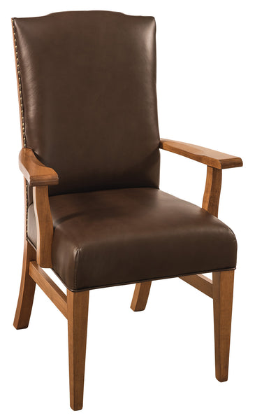 Bow River arm chair shown in Brown Maple/Sealy with Mahogany leather