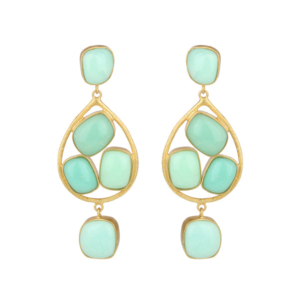 Chrysoprase and gold drop earrings