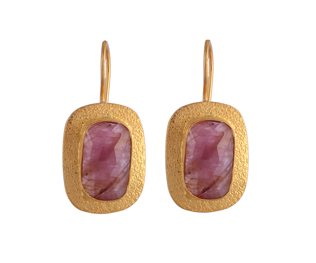 Gold and pink sapphire earrings