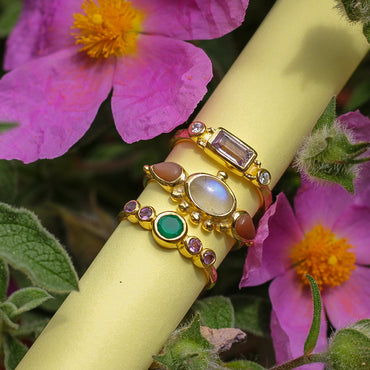 Gold vermeil green onyx and amethyst delicate ring