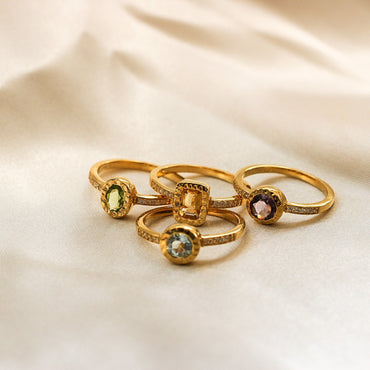 Gold vermeil circular blue topaz and crystal stacking ring