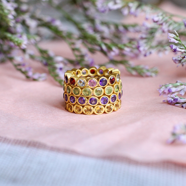 Gold vermeil multi gemstone delicate band