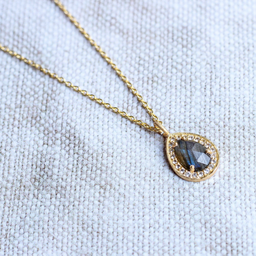 Delicate labradorite pear and crystal pendant
