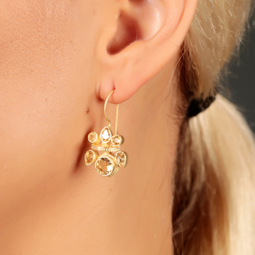 Intricate citrine heritage gold earrings