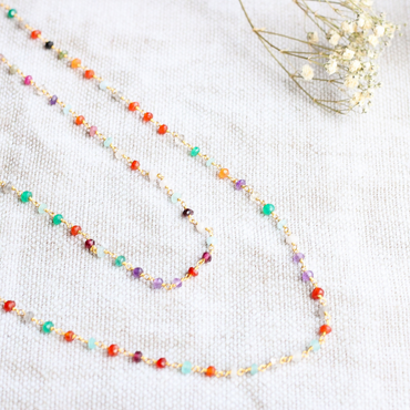 Delicate multi gemstone necklace